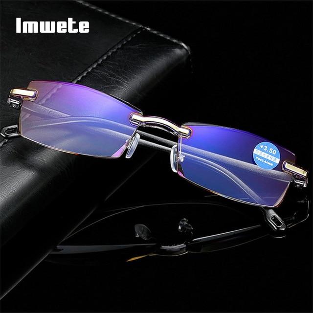 Imwete Rimless Reading Glasses Transparent Women Men Anti-Blu-Ray Frameless Computer Glasses Presbyopia Reader Eyewear 1.5 2.0
