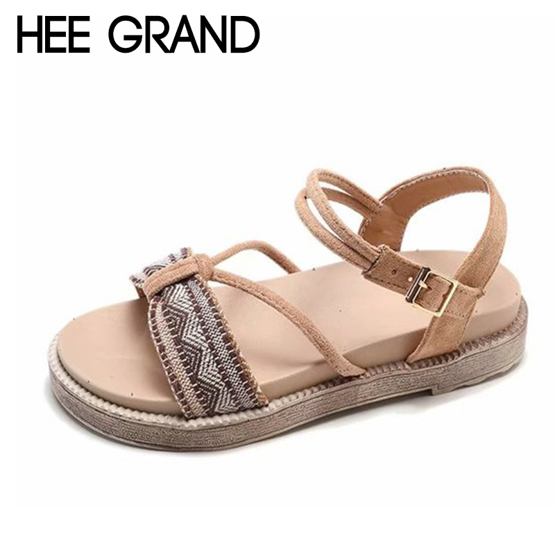 HEE GRAND 2018 New Summer Flats Thong Sandals Woman Causal Flat With Buckle Strap Flip Flops Mujer Shoes Sandals XWZ5144