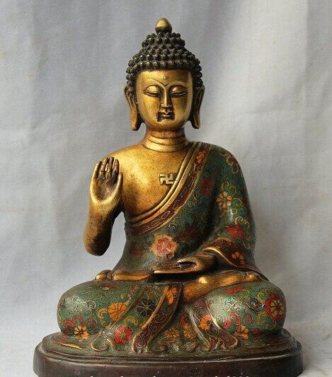 Allingrosso della fabbrica 12 Old Tibet Cloisonne Bronzo 24 K Oro Sedile Sakyamuni Buddha Amitabha StatuaAllingrosso della fabbrica 12 Old Tibet Cloisonne Bronzo 24 K Oro Sedile Sakyamuni Buddha Amitabha Statua