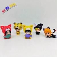 5pcs Anime Action Figure One Piece Luffy Ace Nami Sanji Law Animal Clothes Cat Tiger Ver