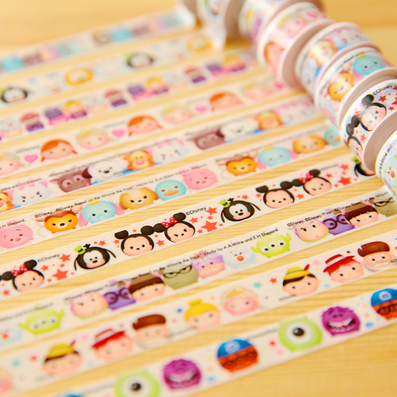Cute Crystal Tsum Cartoon Washi Tape Japanese Cute DIY Decorative Sticker Scrapbooking Diary Planner Notebook Masking Tape цена и фото