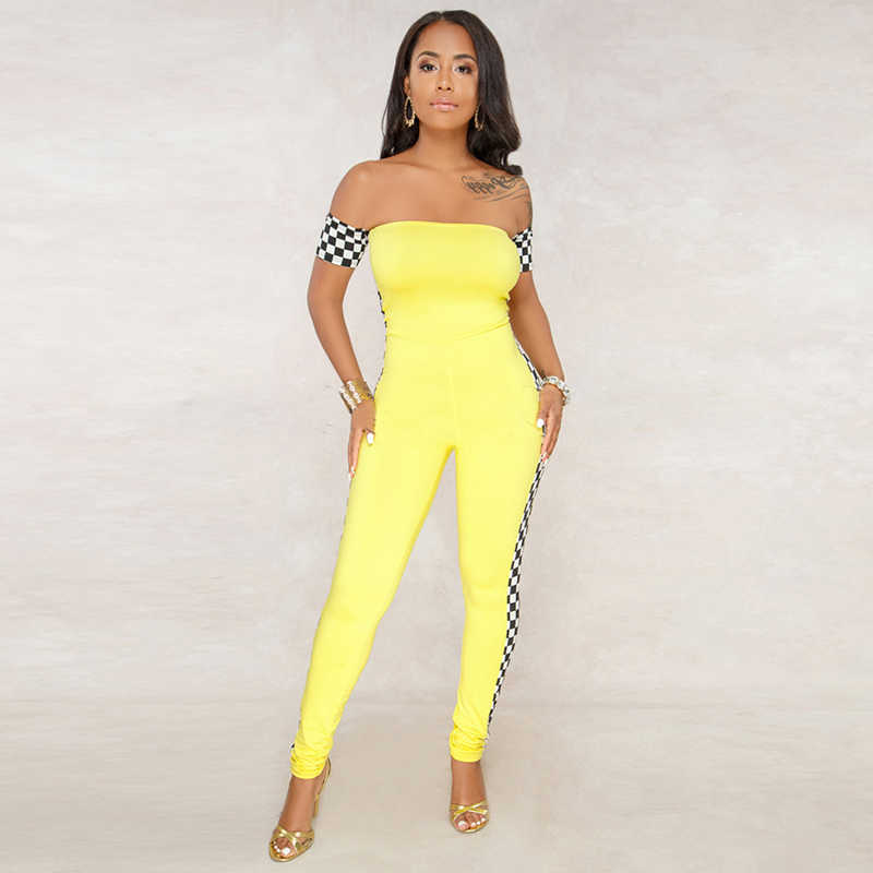 70f70bc0e0c Sexy Side Plaid ROMPERS WOMENS JUMPSUIT Off Shoulder Checkered Pants  Checkerboard Sheer Long Legs Yellow Overalls