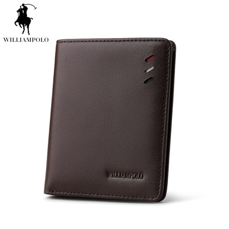 Williampolo Wallets Genuine leather Thin Section Men Wallet Business Coin Purse Ultrathin wallet williampolo genuine leather men wallets business coin purse men hand bags zinc alloy zipper wallet