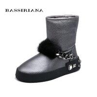 BASSIRIANA/2018 г. новые модные зимние сапоги из натуральной кожи теплые зимние ботинки Женские зимние сапоги обувь на плоской подошве высокое кач