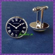 New London clock cufflinks, watch cufflinks gemelos Glass Round Dome cuff link steampunk cufflinks, clock vintage boys jewelry