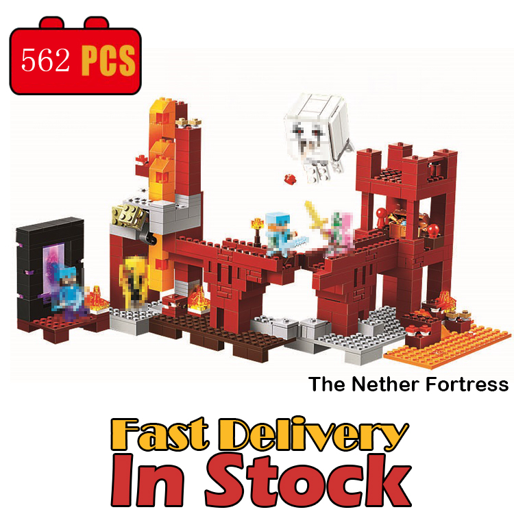 Classic My World Minecraft the Nether Fortress Building Blocks Bricks educational toys for children brinquedos lele bela 21122 bela 10393 my world the nether fortress model self locking building block classic architecture toy for children compatible 21122