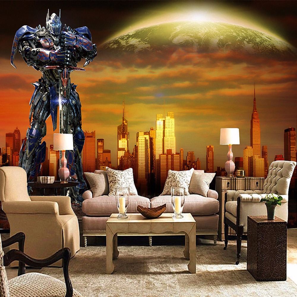 Custom Photo Wallpaper 3D City Building Robot Internet Cafes Advertising Background Poster Wall Painting Mural Wall Paper Modern seattle mariners felix hernandez photo photo sport poster