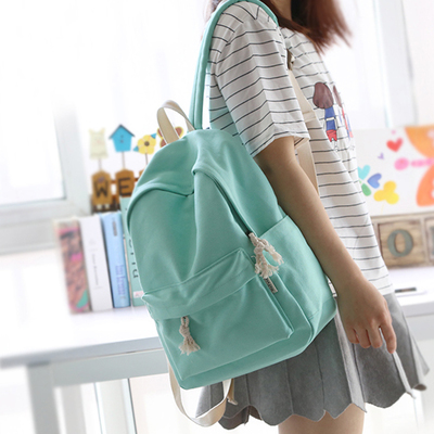 Simple fresh design pure color canvas women backpack fashion girls leisure bag middle school student book