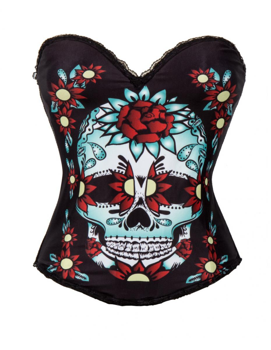 5c0f892445 Red Rose   Skull Printed Push Up Corsets And Bustiers Steampunk Corselet  Punk Gothic Clothing Sexy Corset Overbust With Straps-in Bustiers   Corsets  from ...