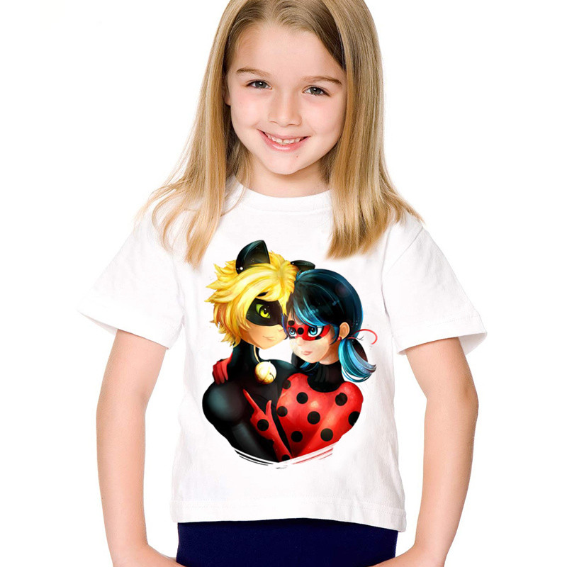 Newest Children Cartoon Print Miraculous Ladybug Funny T shirt Kids Summer Clothes Casual Tops Baby Tees For BoysGirlsHKP2178