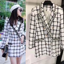 Frau blazer 2019 mode plaid zweireiher blazer vadim temperament silm tweed frauen blazer für büro vintage mantel(China)