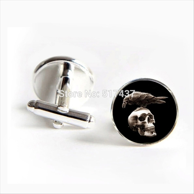 Vintage Skull And Crow Cufflinks for Men