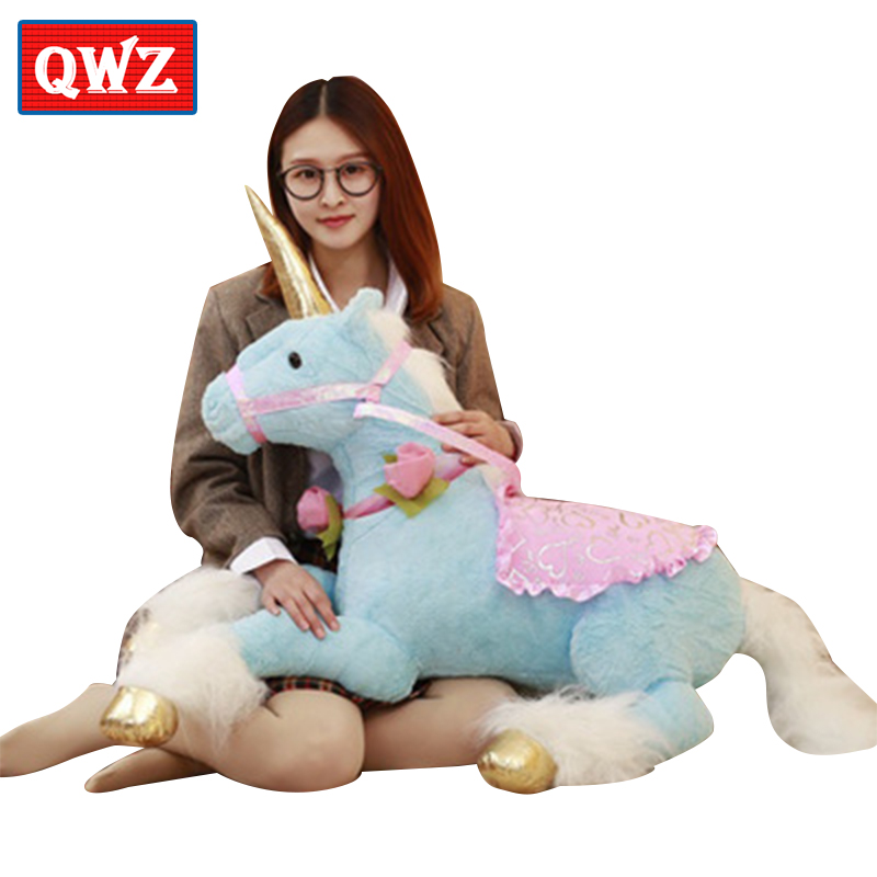 QWZ 100CM Giant Unicorn Plush Toys Stuffed Animal Soft Doll Home Decoration Children Birthday Gift Photo Props 6pcs plants vs zombies plush toys 30cm plush game toy for children birthday gift