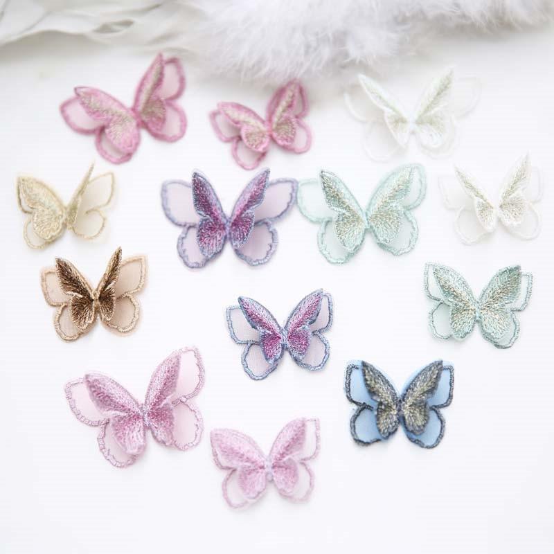 AHYONNIEX Новый двухслойный патч бабочка, вышивка тканевые наклейки, аксессуары для вуали для невесты, пришивка для одежды Заплатки      АлиЭкспресс
