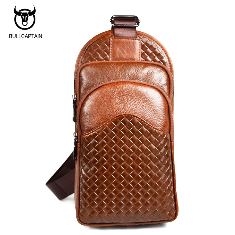 BULL CAPTAIN 2017 FASHION Capacity Leather Crossbody Bags Men chest bag Brand cowhide Shoulder Bags Male casual messenger bag 20 bull captain2017 fashion genuine leather crossbody bags men small brand music messenger bags male shoulder bag chest bag for men