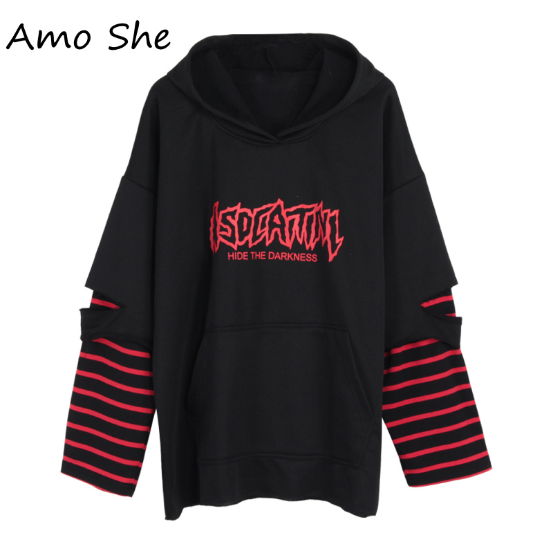 Amo She Striped Patchwork Fake Two Pieces Hoodies Hole Letter Print Hooded Sweatshirt Women Men Autumn Pullovers Unisex