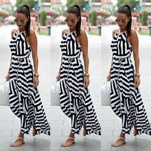 Женщины Sexy Summer Dress Рукавов Maxi Длинное Вечернее Пляж Dress Сарафан Размер S-XL