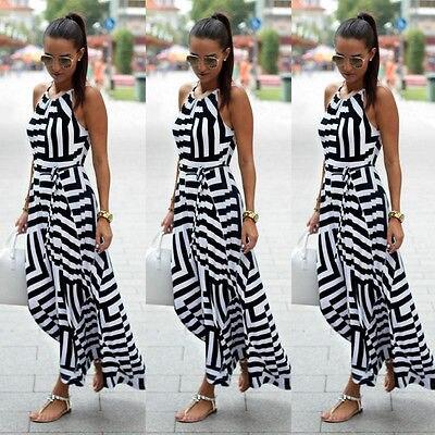 Women Sexy Summer Dress Sleeveless Maxi Long Evening Party Beach Dress Sundress Size S-XL