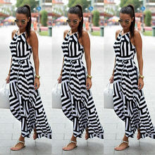Для женщин пикантные летние платье без рукавов длинное Вечеринка пляжное платье Сарафан размеры S-XL