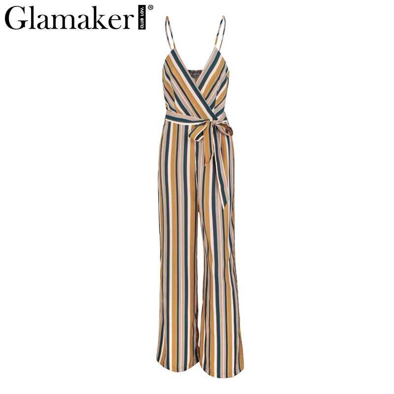 Glamaker sexy multi listrado envoltório cintura alta macacão romper feminino solto cinto longo verão playsuit cinta macacão feminino