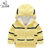I.K Boys Winter Sweaters Down Coats Warm Thick Cotton Striped Pattern Fashion Zipper Hoodies Children Kid Jacket Clothing DP3012