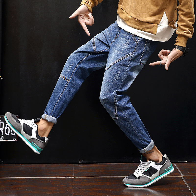 2018 fashion casual harem pants youth pop stretch zipper jean