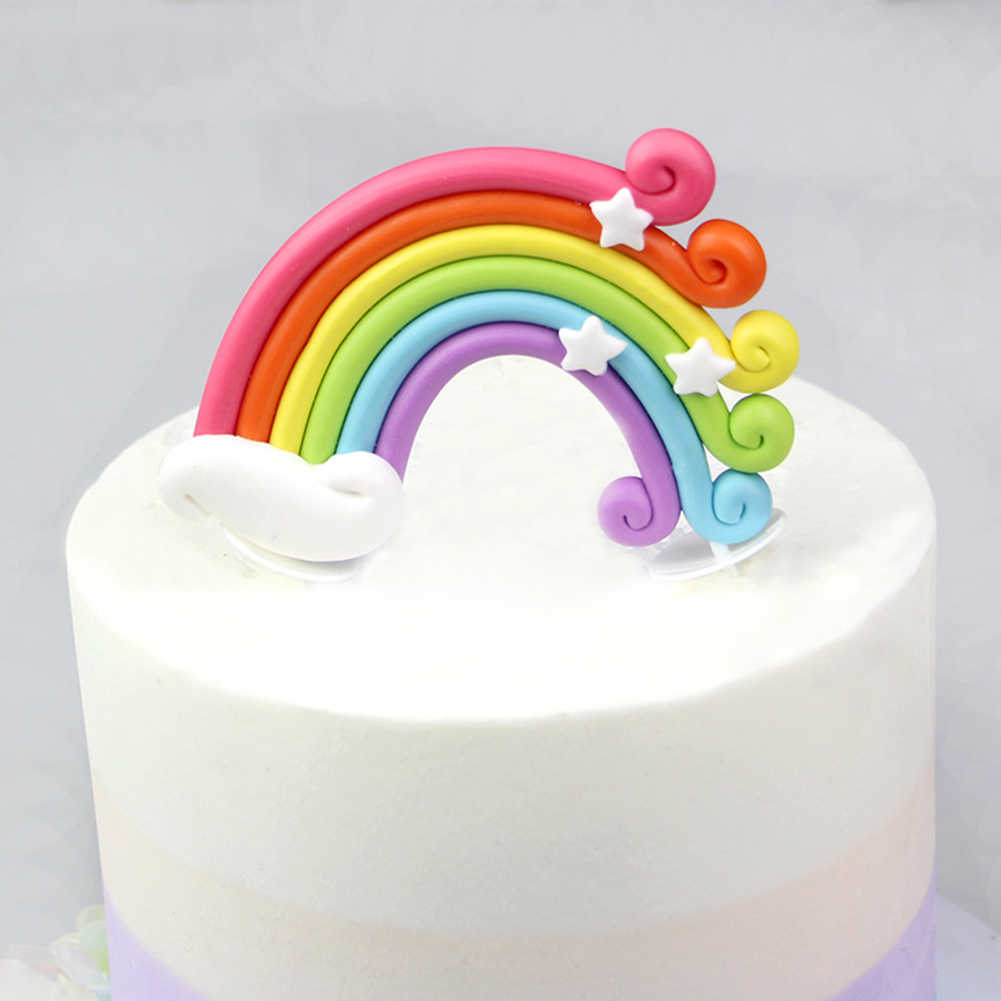 Amazing Rainbow Cake Topper Cupcake Pick Wedding Birthday Party Favor Funny Birthday Cards Online Elaedamsfinfo