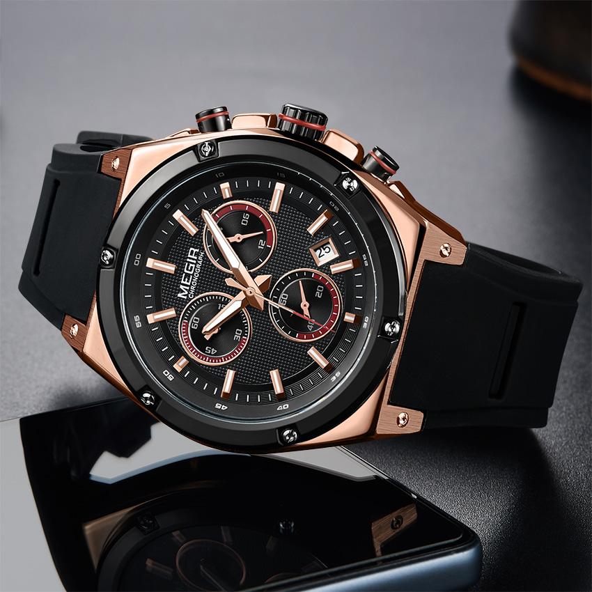 Megir Watch Sport Watches Men Quartz Waterproof Black Gold Deportivo Luminous Watches Men Luxury Waterproof Man Watch 2018 Sport