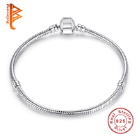 100% 925 Sterling Silver Snake Chain Charm Beads fit pandora Original Bracelet Charm for Women Authentic Jewelry Pulseira Gift