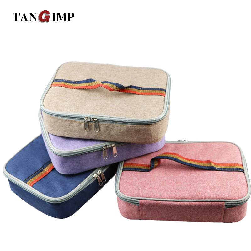 TANGIMP Portable Thermal Insulated Cooler Bags Flat Rectangle Lunch Bag for Kids Picnic Food Sandwich Snack Box to School 2018