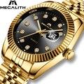 Часы MEGALITH мужские  повседневные  водонепроницаемые  аналоговые  золотые  кварцевые
