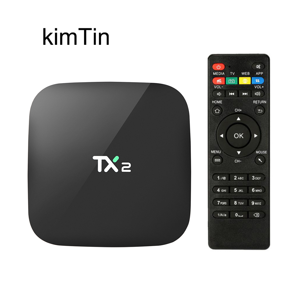 TX2 R2 Android TV BOX 2GB 16GB H.265 4K 2,4G WiFi Bluetooth 2.1 Quad Core OS 6.0 IPTV Smart Box TV w / Air Mouse Pk X92 X96 Mini
