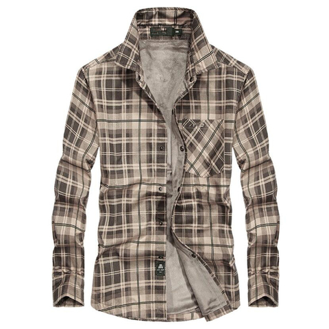 Brand Casual Fleece Shirts Men Winter Fashion Flannel Thick Warm Plaid Shirts Cotton Long Sleeve Business Shirts Chemise Homme Karachi
