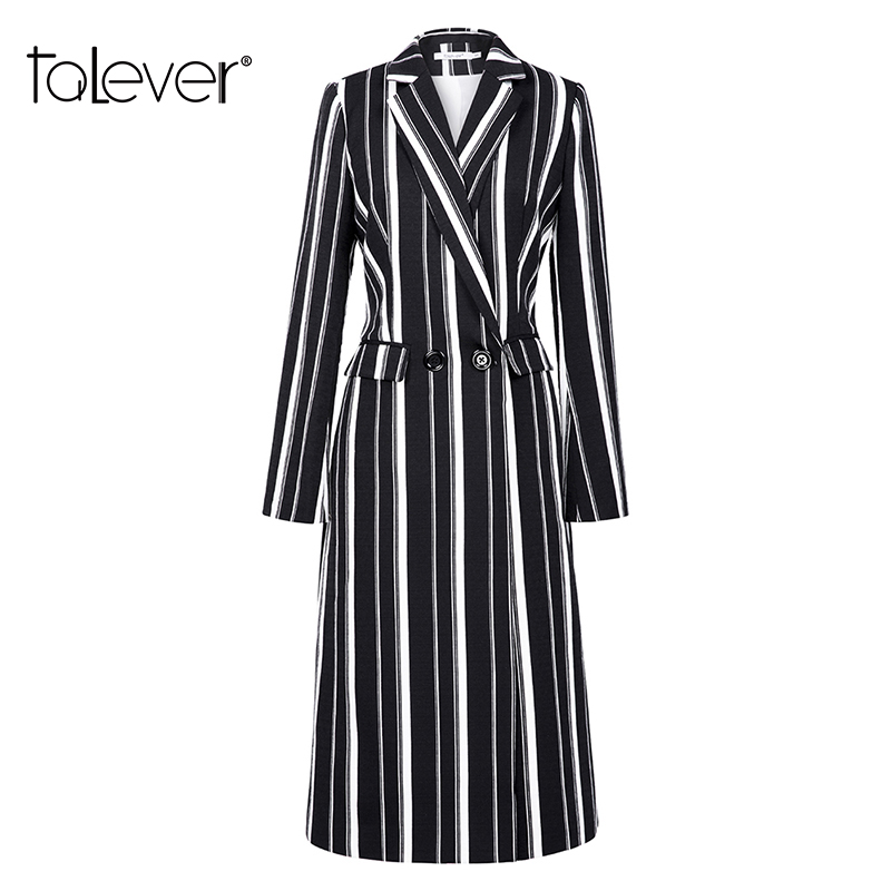 Women Casual Striped   Trench   Coat Fall 2018 Autumn Winter Female Elegant Long Coat Lady's Windbreaker Streetwear Overcoat Talever
