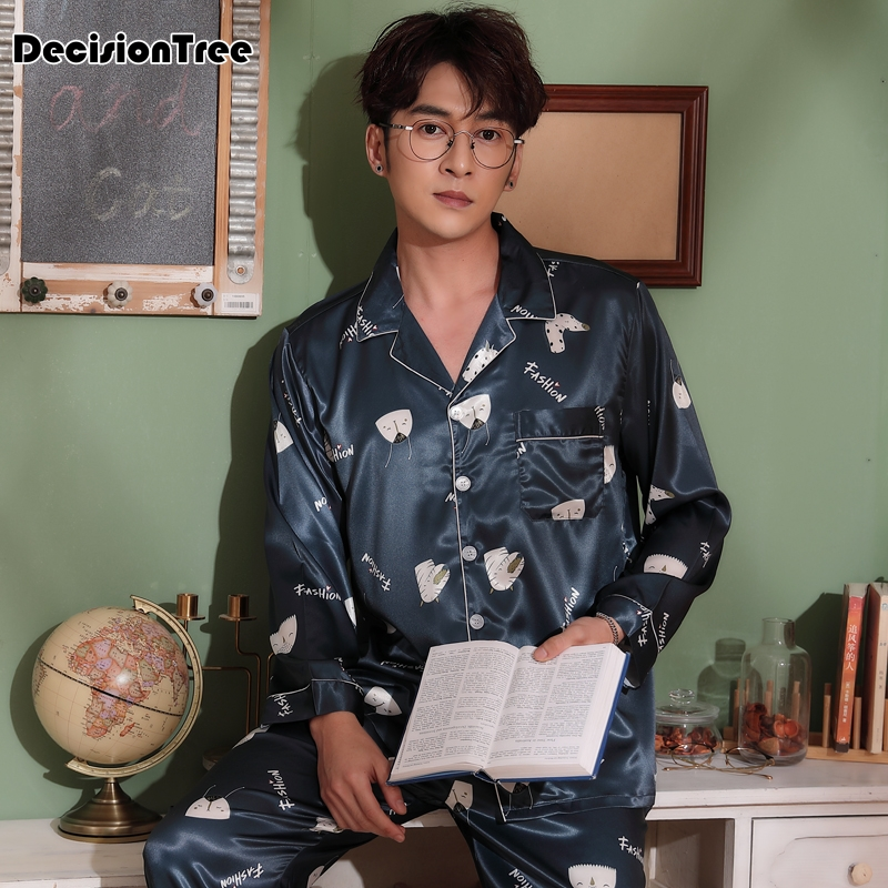 2020 Silk Men Pajama Sets Long Sleeves Sleepwear Men Suit Casual Pyjamas Men's Pajamas Sets Silk Like Sleepwears Men's