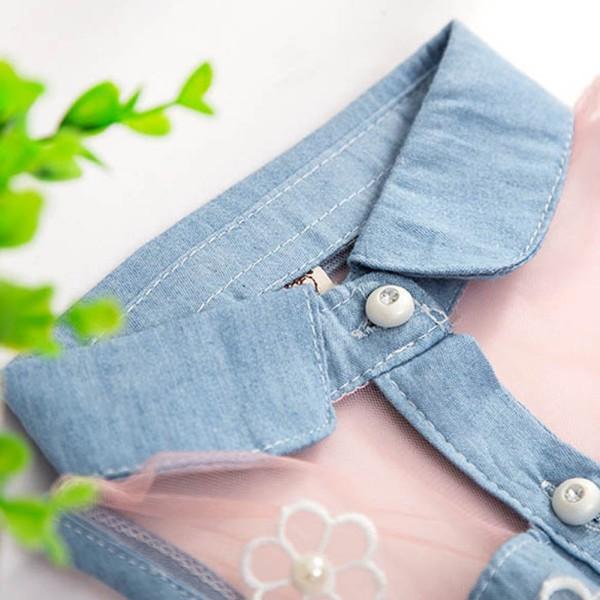 Summer Girls Cute Princess Dress Children Baby Kids Denim Shirt Tulle Tutu Dress Clothes 2-7T 14