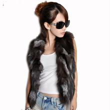 цена на Free shipping genuine real natural Fox fur vest /Waistcoat Women's clothing Style Newest In Stock custom big size 80-120 bust