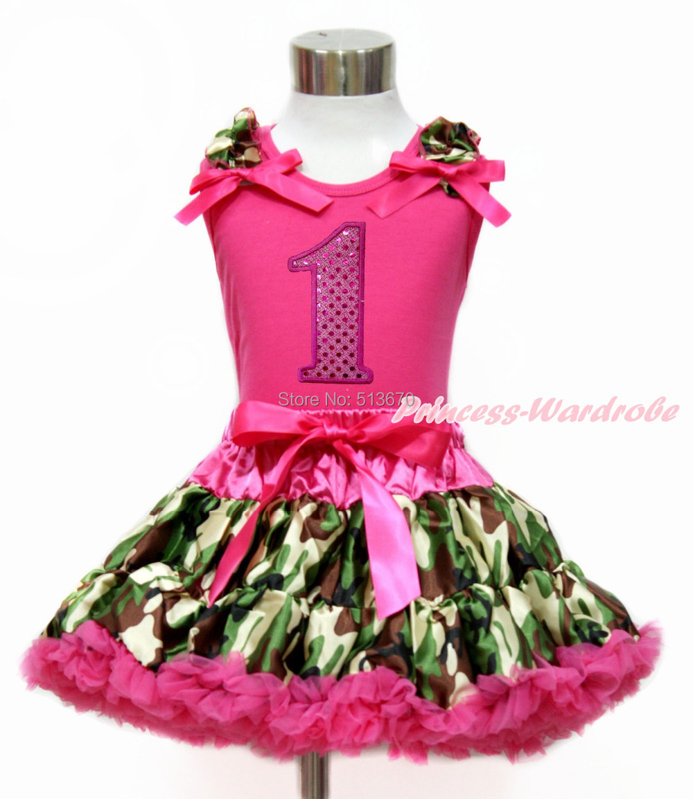 Hot Pink Sparkle 1ST White Top Camouflage Pettiskirt Set 1-8Year MG1207