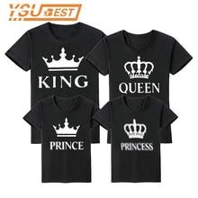 Familia juego trajes de Verano de la madre y la hija ropa de mami y yo, familia camiseta padre madre hijo de Rey reina