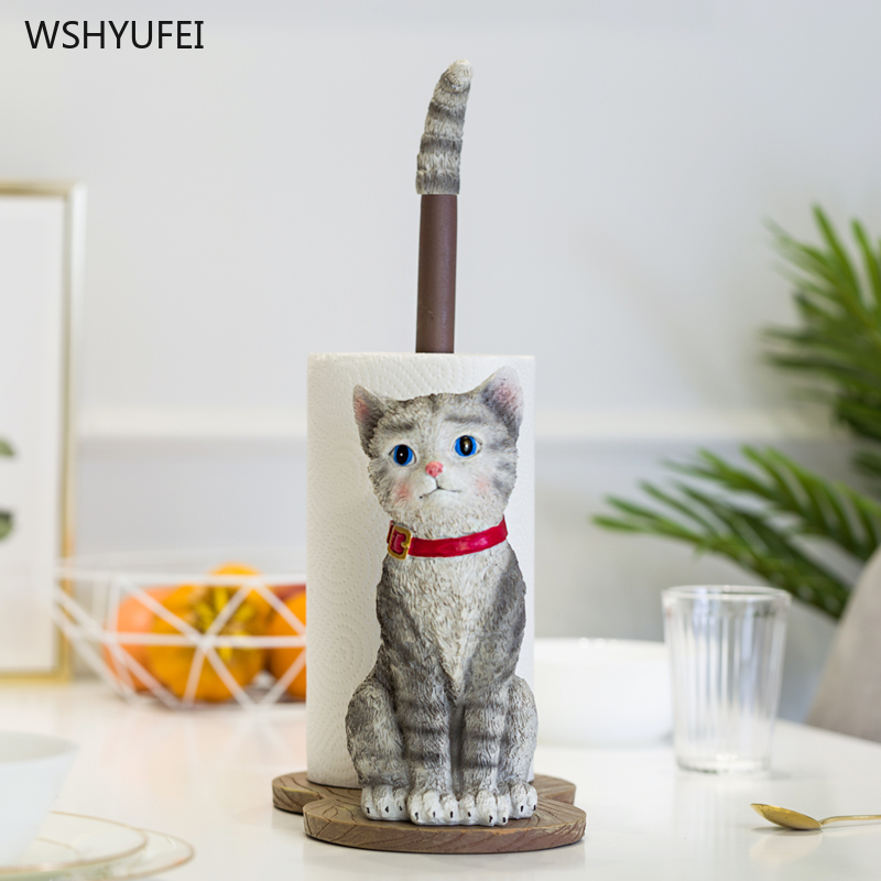 Direct Kitchen Paper Vertical Cartoon Cat Free Punching Toilet Roll Paper Tray Tray Cute Three-dimensional Bathroom Storage