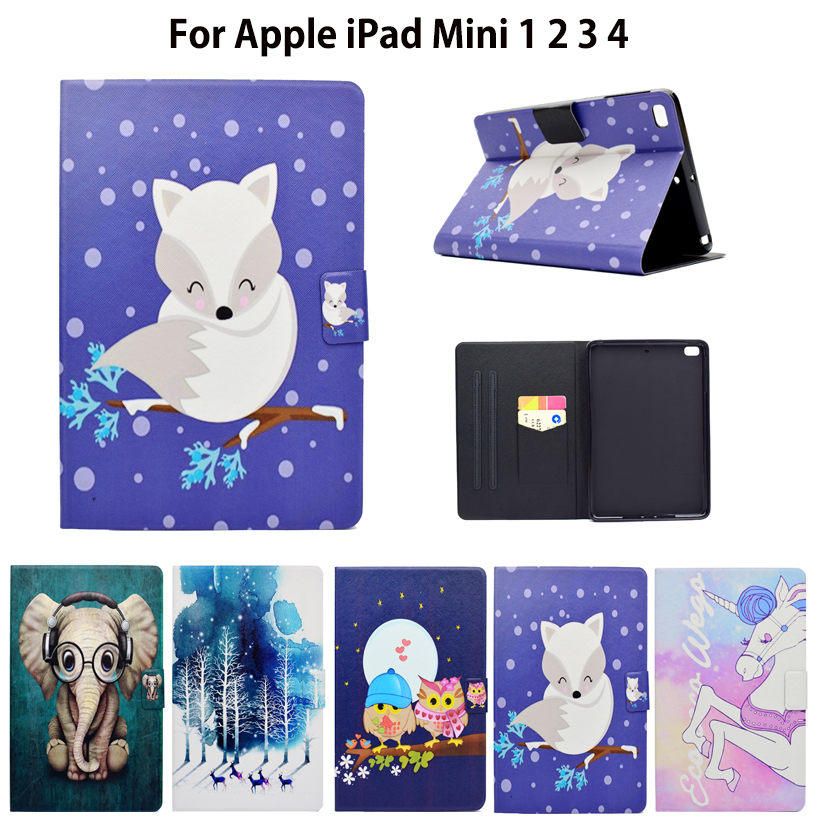Fashion Cartoon Silicone PU Leather Flip Case For Apple iPad Mini 1 2 3 4 Smart Case Cover Funda Pattern Stand Shell nice soft silicone back magnetic smart pu leather case for apple 2017 ipad air 1 cover new slim thin flip tpu protective case
