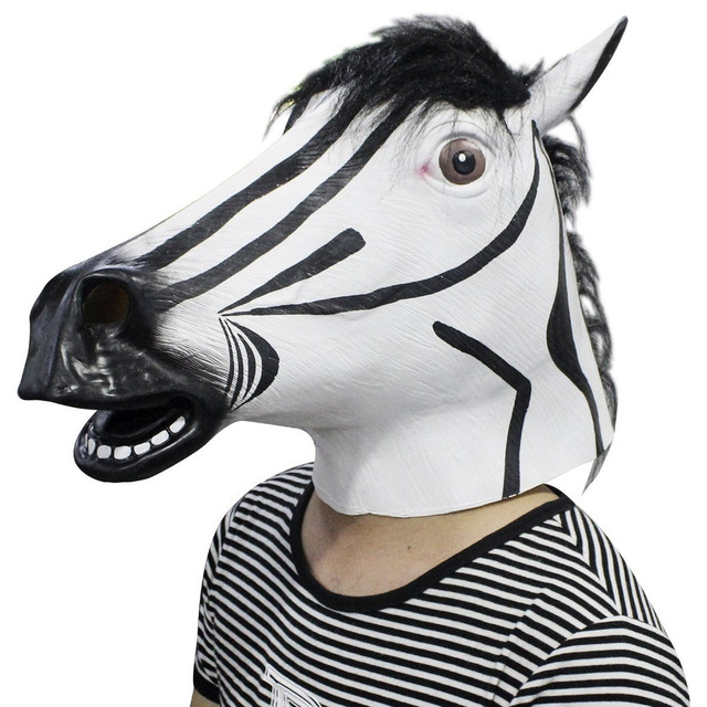 Full Head Zebra Mask for Masquerade Party Halloween Cosplay Mask Animal Latex Mask