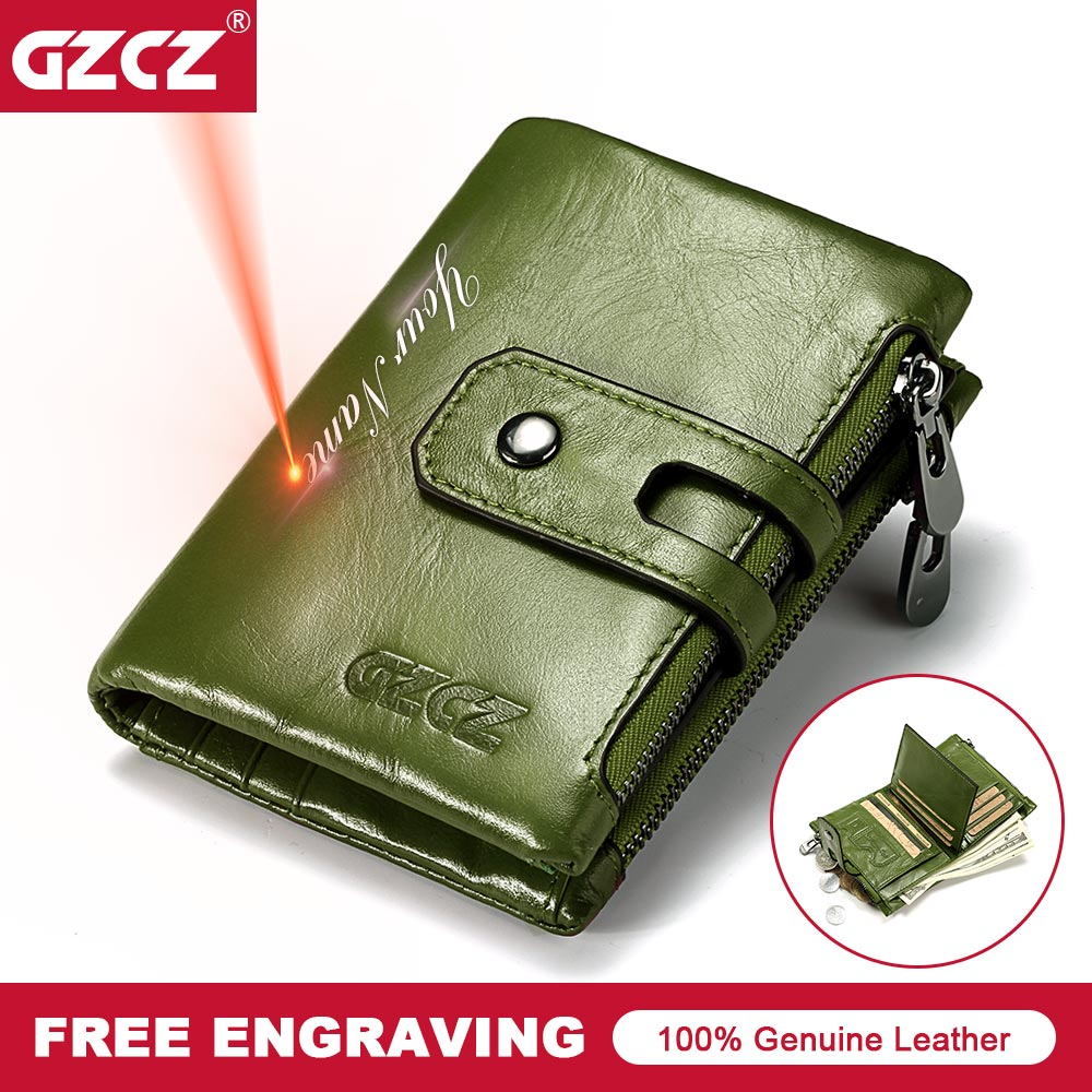 GZCZ Women Wallet Mini Zipper Money Bag Genuine Leather Female Small Wallets Lady Vallet Coin Purse Card Holder Perse Portomonee