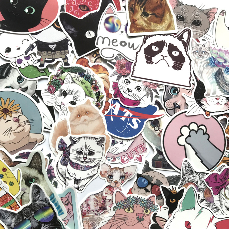 50pcs Cute Cat Style Cartoon Kitten Stickers For Computer Phone Laptop Skateboard Fridge Bicycle Pvc Waterproof Decal Sticker F4