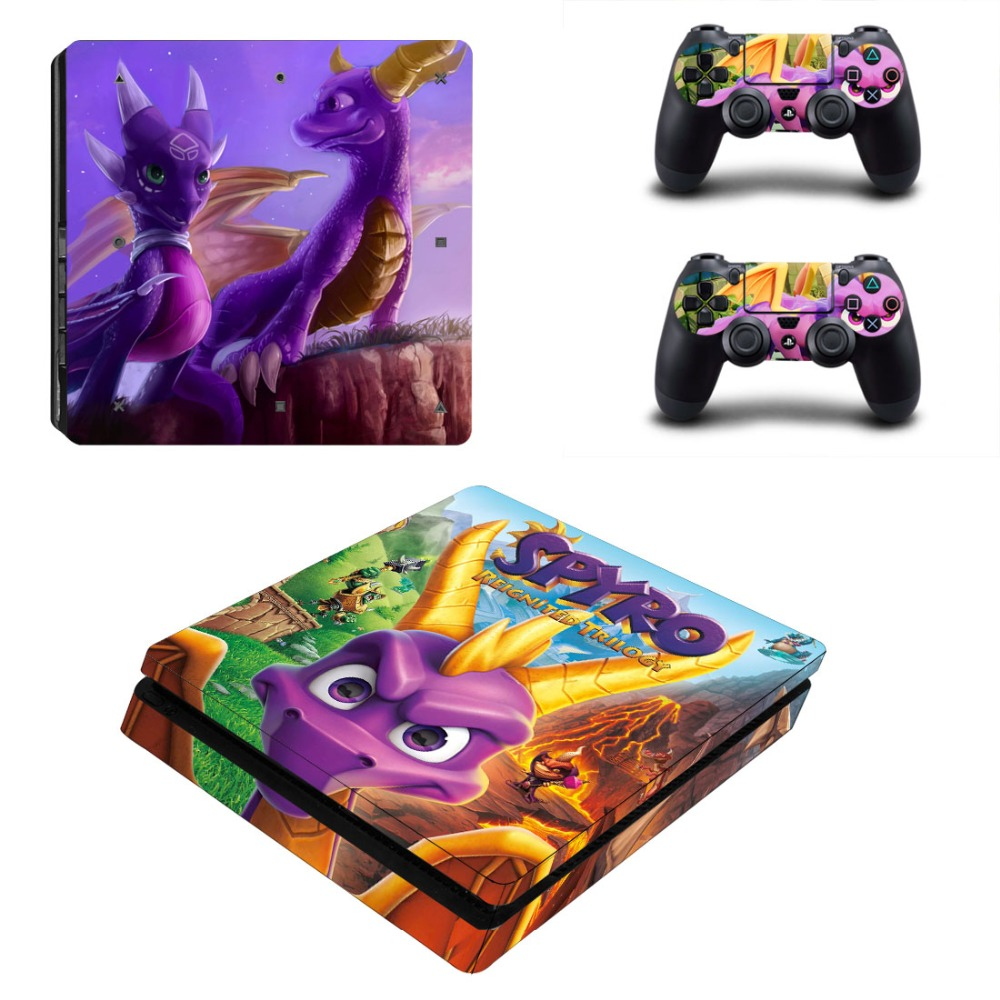 Game Spyro The Dragon PS4 Slim Skin Sticker For Sony PlayStation 4 Console and 2 Controllers PS4 Slim Skins Sticker Decal Vinyl image