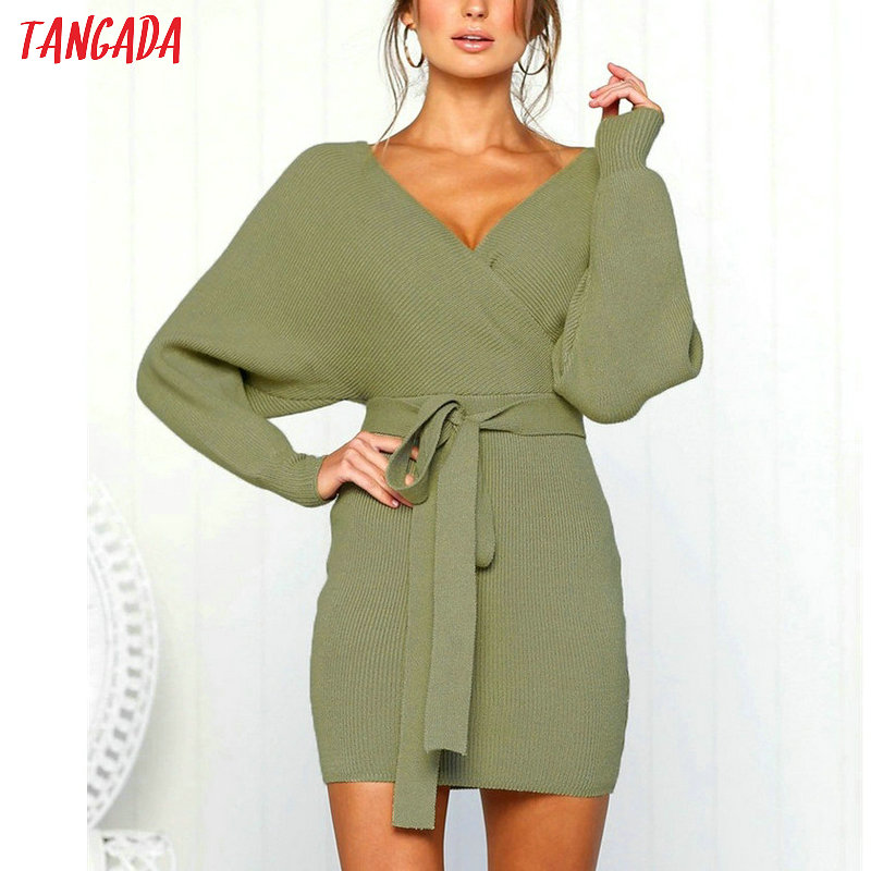 Tangada women dress 19 knitted mini dress autumn winter ladies sexy green sweater dress long sleeve vintage korean ADY08 15