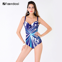 2016 New Arrival Sexy Plus Size One Pieces Swimming Suit Floral Print Swimwear Adjustable Straps Bathing