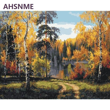 AHSNME Semi-finished Autumn Forest Diy Oil Painting By Numbers Kits Wall Art Picture Home Decor Children's drawing learning kit