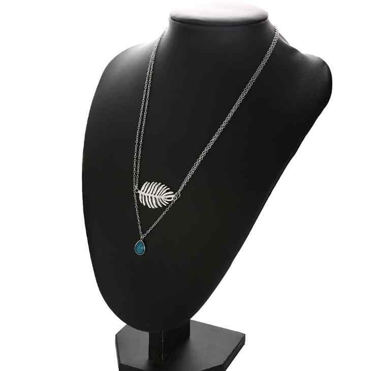 羽の葉のペンダント緑の石のネックレス女性のための多層チェーンチョーカーネックレスギフトビジュー手作りジュエリードロップ無料