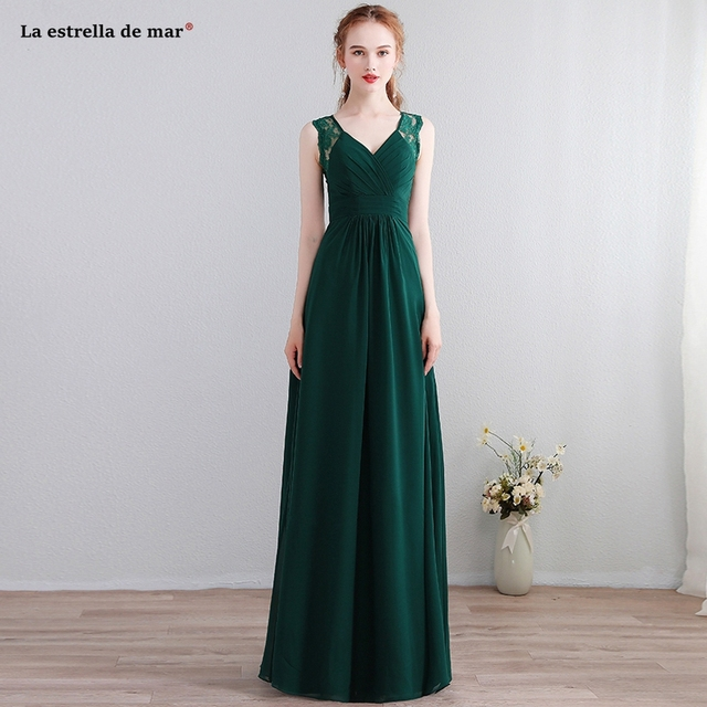 Robe demoiselle d honneur 2018 new lace chiffon back a line dark green  bridesmaid dresses long plus size vestido madrinha 6414bab4a18a